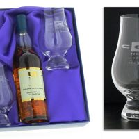 20cl Designer Gift Set :: Based on the success of our Dram & Glass set this gift set is designed to provide your client with a 20cl bottle of a specially selected 10 Year Old Single Malt Scotch Whisky and 2 engraved crystal nosing glasses.