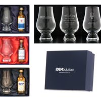 Designer Dram & Glass Set :: Dram & Glass gift set containing a foil blocked, own labelled, 10 Year Old Single Malt Scotch Whisky miniature & an engraved crystal whisky nosing glass.