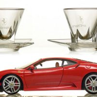 Ferrari Glasses & Car :: Italian Crystal coffee set engraved with your details and available in a range of styles.